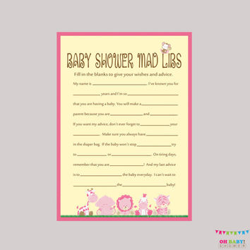 Pink Safari Baby Shower Mad Libs Printable - Baby Shower Advice Cards Mad Libs Game - Instant Download - Safari Baby Shower Game - BS0001-P