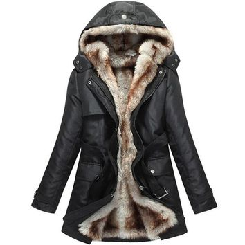 2017 Fashion Autumn Winter jacket Women Warm Coat Parkas With Hood Removable Fur lining Thick Oversized outerwear