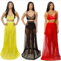 sexy mesh bandage bodycon dress celeb prom bralets crop top skirt two-piece set