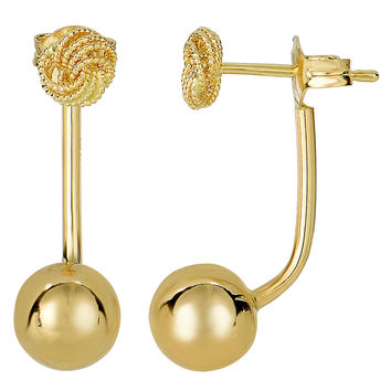 14K Yellow Gold Ball And Love Knot Belly Ring Style Earrings - 8mm Ball