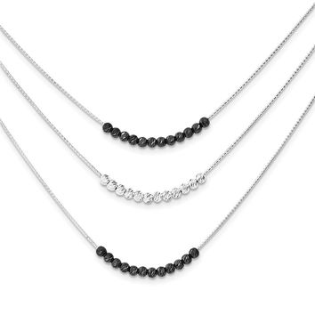 Sterling Silver Ruthenium-plated 3 Strand D/C Beaded Necklace