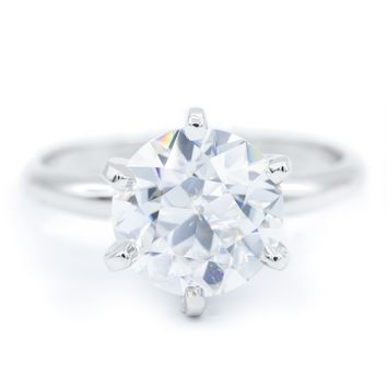 Old European Cut (OEC) Round Moissanite Platinum 6 Prongs Solitaire Ring