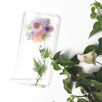 Summer Dandelion, Pressed flower iPhone 7/7 Plus, Real Flower iPhone 5s/6s case, Handmade iPhone 6 Plus case, Clear iPhone case