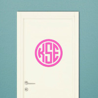 Monogram Wall Decal Sticker - Circle Monogram - DIY - Removable - Wall Safe - Door Monogram Decal - College Dorm Decal - Bedroom - Nursery