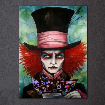 Mad Hatter by Pixie Cold 1-Piece Framed Canvas Art Alice In Wonderland