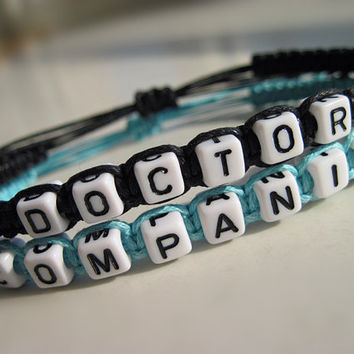 Doctor Who Inspired Bracelets, Time Lord Companion Bracelets, Doctor Companion, Couples Bracelets, blue white Friendship Gifts