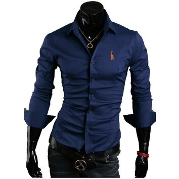 2018 New Designer Slim Fit Mens Casual Shirt Fashion Long Sleeve Embroidery Social Shirt Male Shirts Chemise Homme XXXL