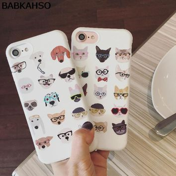 BABKAHSO Glasses Cat and Dog Soft Case Cute Cartoon Phone Shell for iPhone 8 8plus 7 7plus 6 6plus 6s 6splus full Protective