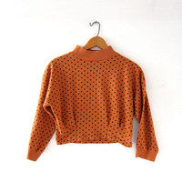vintage 80s cropped blouse. Polka dot shirt. Copper brown top.