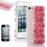 Pandamimi ULAK Fashion Sweety Girls Hand Made 3D Lace Rose Flower and Bling Pearl Diamond Hard Case Cover for iPhone 5 5G Pink with Screen Protector