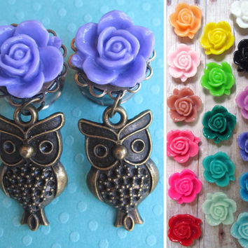 "Pair of Purple Flower Plugs with Owl Charm Danglies - Girly Gauges - 4g, 2g, 0g, 00g, 7/16"", 1/2"", 9/16"", post earrings"