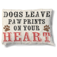 Paw Prints on Heart Dog Bed
