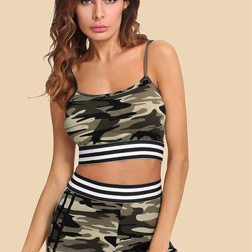 Striped Tape Detail Camouflage Cami & Shorts Set
