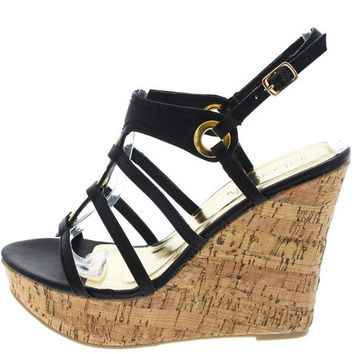 IVETH5 BLACK CAGED STRAPPY CORK WEDGE