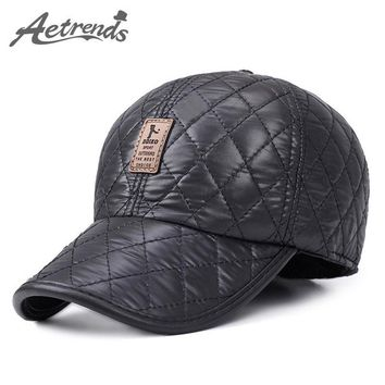Trendy Winter Jacket [AETRENDS] Winter Men Cap Baseball Hat Plaid Stylish with Ears Men's Hats 5 Panel Fitted Cap with Fan Bone Trucker Hat Z-1689 AT_92_12