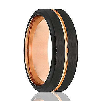 Mens Wedding Band - Tungsten Wedding Band - Black Tungsten Rose Gold Ring Groove Beveled Edge - Tungsten Wedding Ring - Man Tungsten Ring - 8mm