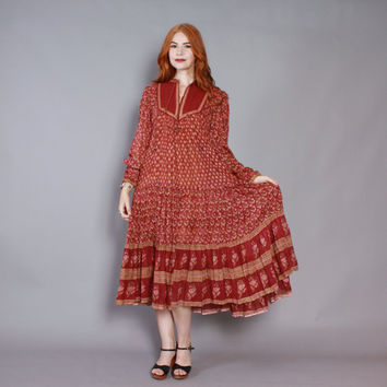 70s Bohemian INDIA Gauze DRESS / 1970s Burgundy & Metallic Gold Indian Cotton Tent Dress