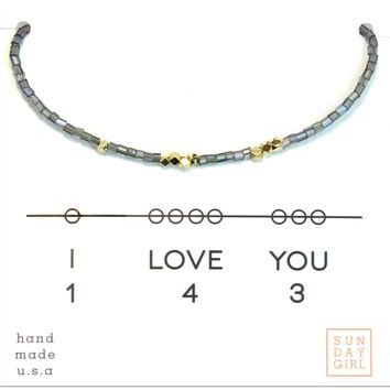 Friendship Bracelet - I Love You 143  - Iridescent