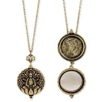 Gold Lotus Mirror Locket Long Necklace