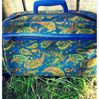 Vintage blue paisley carry on suitcase. Photography prop luggage. Hand held travel bag 60s