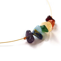 "Gold Minimalist Gemstone Chakra Necklace, Rainbow Meditation Healing Jewelry, 14"", 15"", 16"", 17"", 18"" and Custom Lengths"
