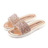 Women's Summer Slippers Casual Slides/Flat Rhinestone Sandals/ Flip Flop  Beach Shoes