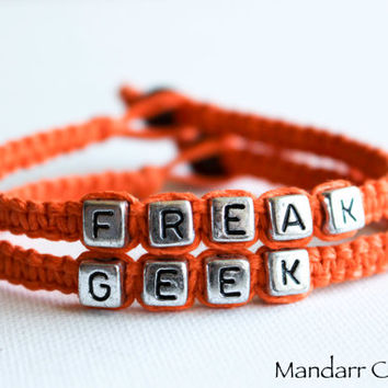 Orange Freak and Geek Bracelets, Set of Two, Cute Quirky Couples Jewery, Anniversary Gift, Best Friends