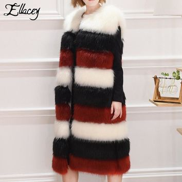 Ellacey 2017 Winter Elegant Luxury Warm Faux Fur Coats Striped Lady Artificial Fur Vest Long Shaggy Fake Fur Women Coat Plus