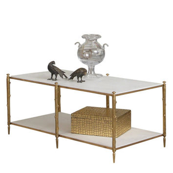 Arbor Cocktail Table-Brass and White Marble