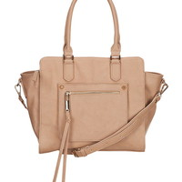 Front pocket faux leather satchel