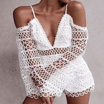 White Long Sleeves Lace Cutout Spaghetti Strap Rompers