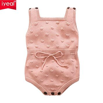 Newborn Baby Rompers Cotton Knitted Girls Jumpsuits Sleeveless Toddler Girls Clothes Cute Infant Outerwear