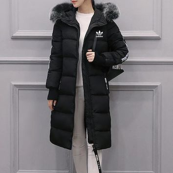 """Adidas"" Women Fashion Stripe Letter Zip Cardigan Fur Collar Hooded Middle Long Section Long Sleeve Cotton-padded Clothes Coat"
