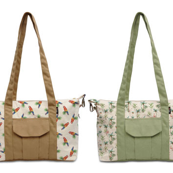 Women Water Color Tropical Printed Picnic Canvas Shoulder Bags WAS_18