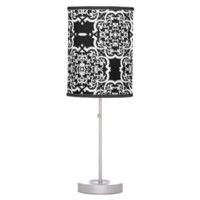 Quatrefoil Damask (White) Desk Lamps