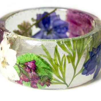 Real Flower Jewelry-  Purple Bangle- Pink Flower Jewelry- Resin Jewelry- Flower Bangle- Green Resin Bracelet