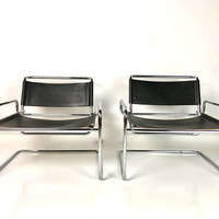 Rare Pair of Mid Century Modern Luigi Saccardo Chrome LEATHER Sling Tubular LOUNGE Chairs ARRMET Wassily