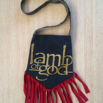LAMB OF GOD - Upcycled Rock T-Shirt Fringe Purse - ooaK