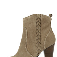Very Volatile Wright Taupe Suede Leather Ankle Boots