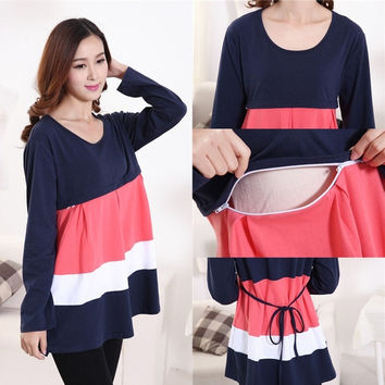 long sleeve cotton maternity nursing tops breast feeding clothes for pregnant women 2015 spring clothing for pregnancy vestidos = 1946673028