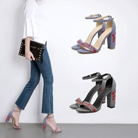 Chunky Heel Peep-toe Embroidery Flower Ankle Strap PU Sandals