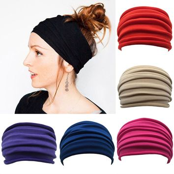 1PC Bohemian  New Women Wide Sports Yoga Nonslip Headband Stretch Boho Hairband Elastic Turban Running Headwrap Hair Band Accessories