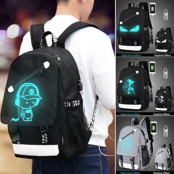 Anime Luminous Anti-Theft Backpack Daypack Shoulder SchoolBag USB Charger