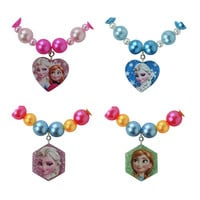 Anna Elsa Pendant Necklaces hexagon heart For Kids Baby Child Girls Jewelry Gift Cosplay Character Figure one piece