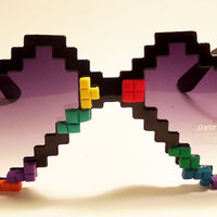FREE SHIP! Sunglasses with game tiles! Pixelated Heart Shaped Glasses / 8-bit / gamer / retro / pixel / pixelated / heart sunglasses