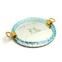 Vintage Etched Blue Murano Mirrored Tray