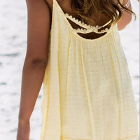 Strappy Cotton Lace Fringed Beach Dress 9728
