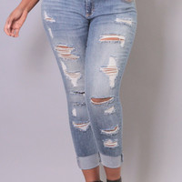 Plus Size Destroyed Skinny Ankle Jean - Medium Wash