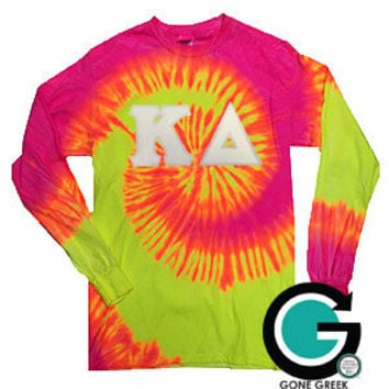 CUSTOM Tie Dye Long Sleeve Greek (Sorority or Fraternity) Letter T-Shirt