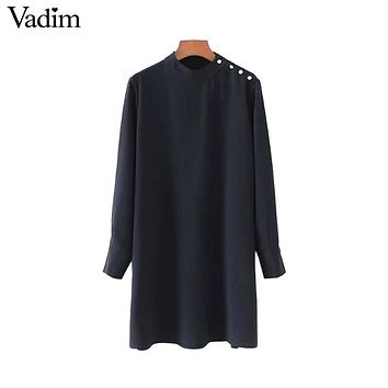 Vadim women vintage beading pearls straight dress pleated stand collar long sleeve autumn mini solid vestidos mujer QZ3419